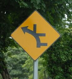 branching roads sign