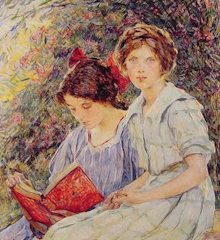 Two Girls Reading By Robert Reid