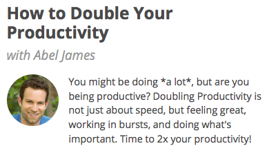 How to Double Your Productivity class