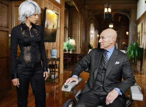 Patrick Stewart as Charles Xavier in the X-Men series, with Halle Berry