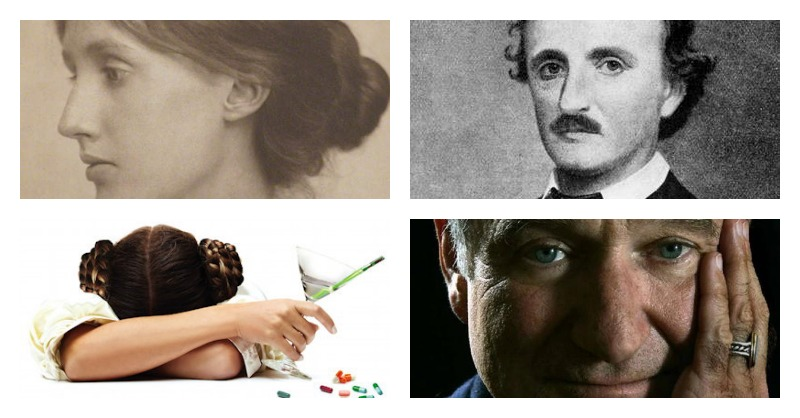 Virginia Woolf, Edgar Allan Poe, Carrie Fisher, Robin Williams