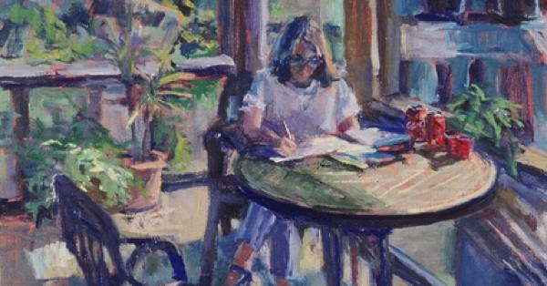 Woman writing on porch by Valerie Hardy