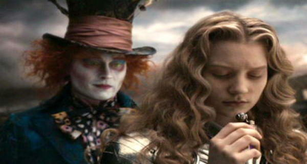 Johnny Depp and Mia Wasikowska in Alice In Wonderland