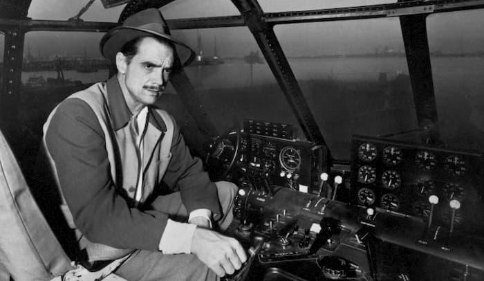 Howard Hughes in cockpit